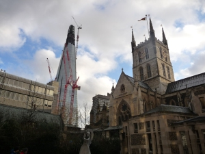 A picture I took of the unfinished Shard. I thought it was cool juxtaposed with the Gothic architecture of the cathedral to the right.
