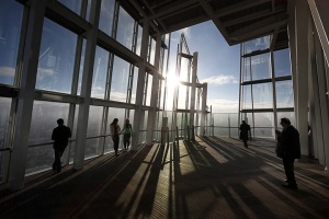 Visitors look out from the Shard viewing platform