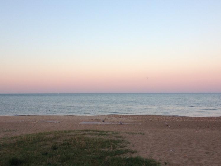 Lake Michigan at sunset.