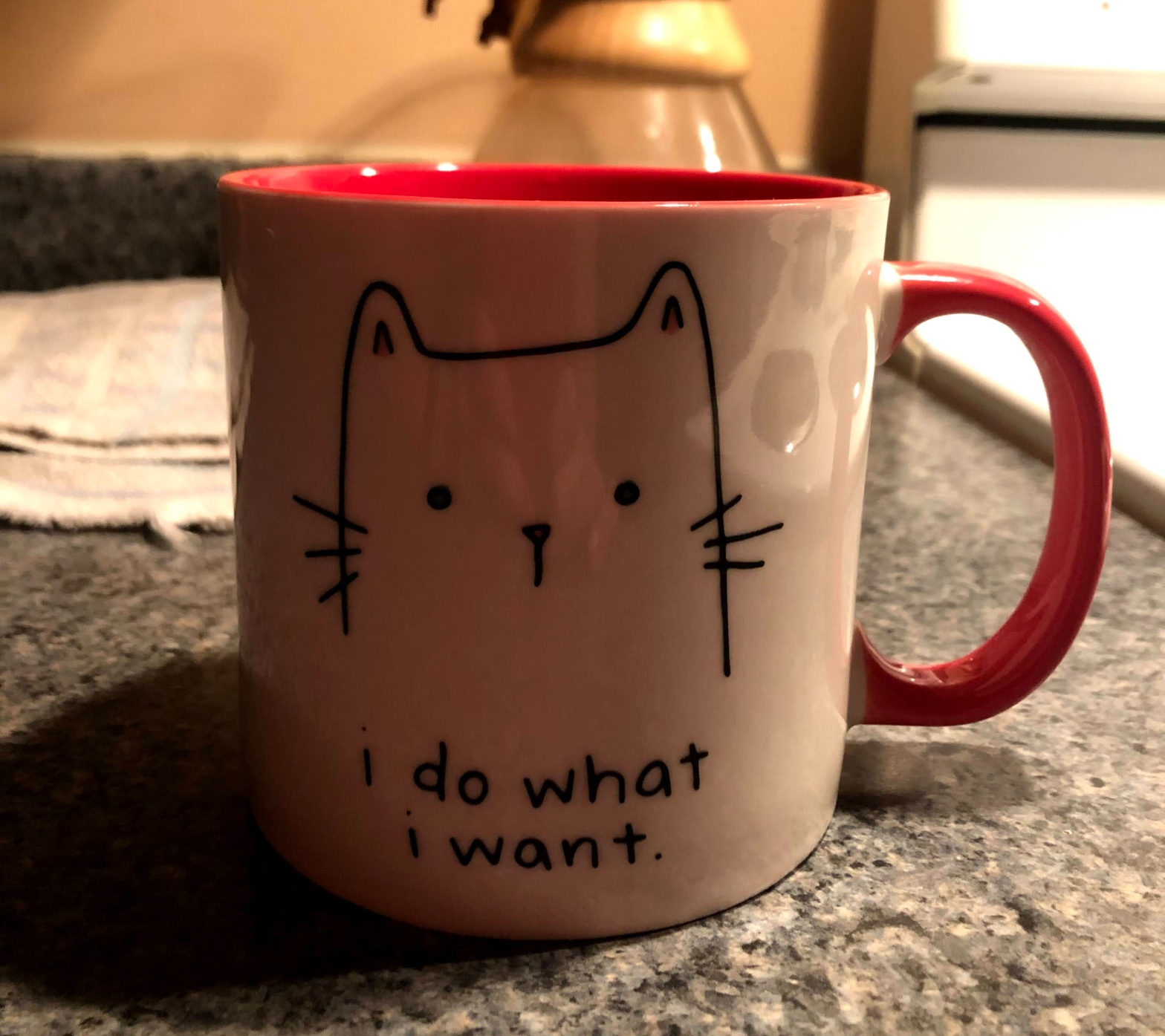 """A cup with a cat face that says """"i do what i want"""""""